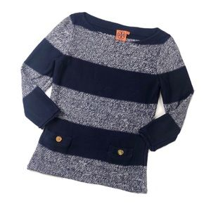 Tory Burch Nautical Striped Navy Pullover Sweater
